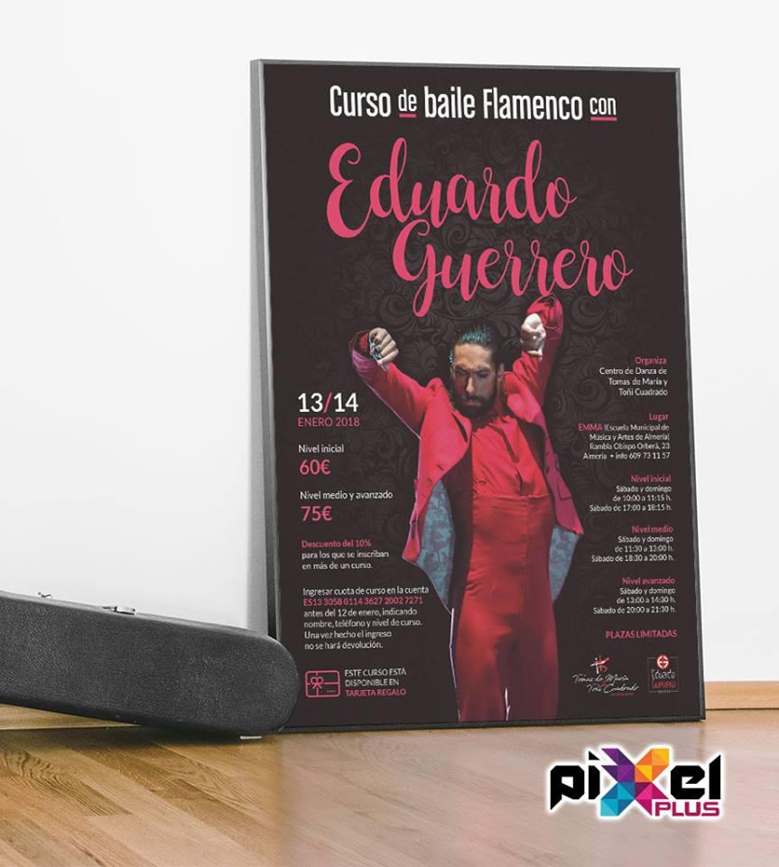 Cartel curso baile flamenco. Producción, diseño por Pixel Plus